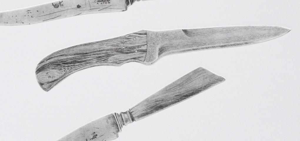 Les couteaux - gravure taille-douce