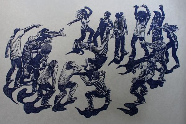 hip hop battle - gravure imprimée en bleu foncé sur Drop Paper gris
