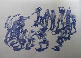hip hop battle - gravure imprimée en bleu clair sur Drop Paper gris